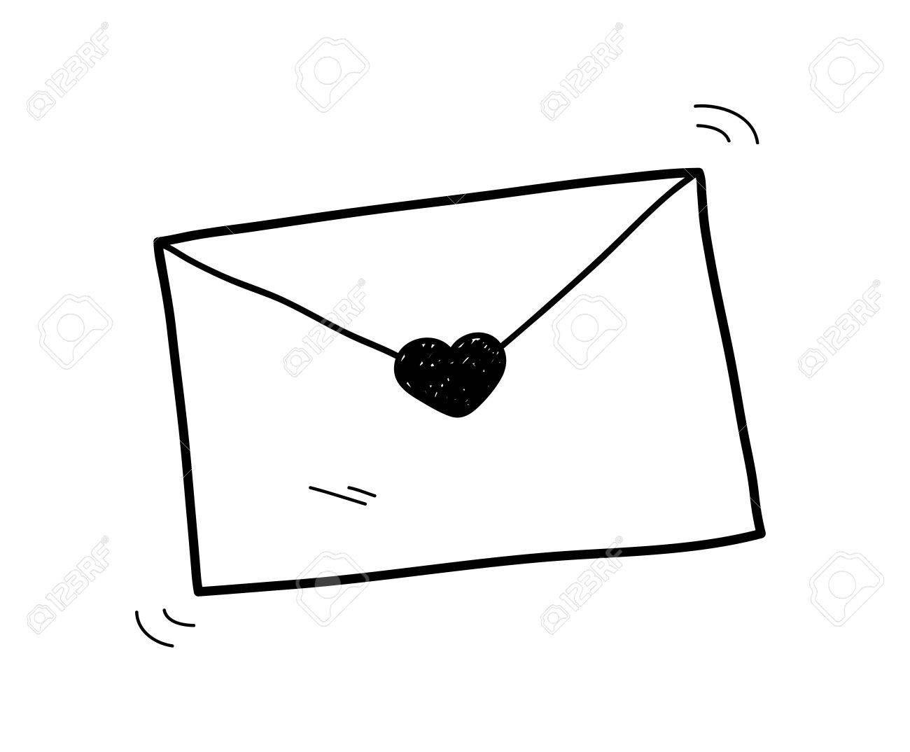 love letter doodle, a hand drawn vector doodle illustration of
