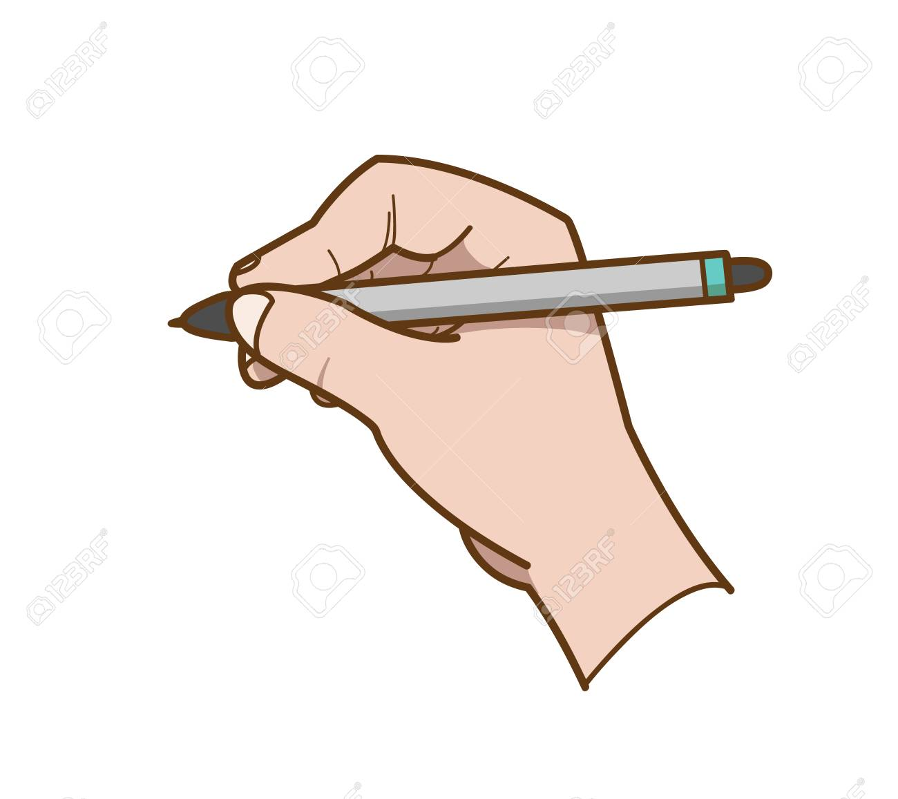 Hand drawing a hand drawn vector illustration of a hand holding a ballpoint about to