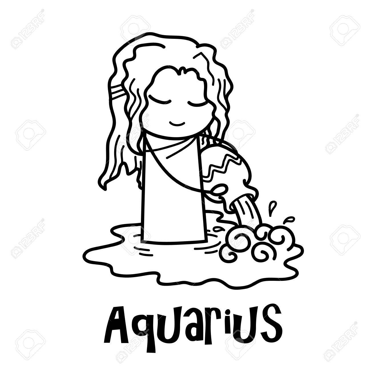 aquarius zodiac a hand drawn vector cartoon illustration of