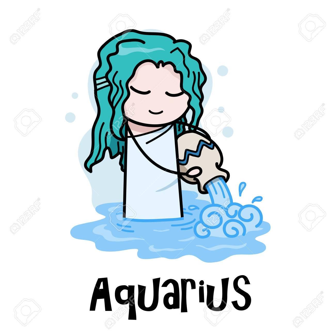 アクエリアス星座水瓶座星座水瓶座手描きベクトル漫画イラストの