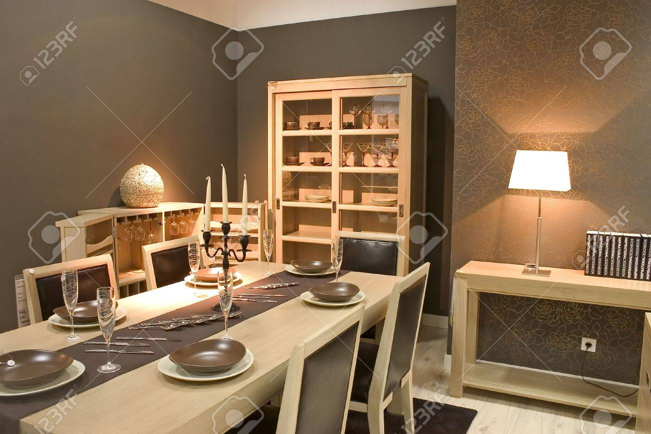 luxury dining room and dinig table with glasses dishes and luxury dining room and dinig table with glasses dishes and furniture stock photo