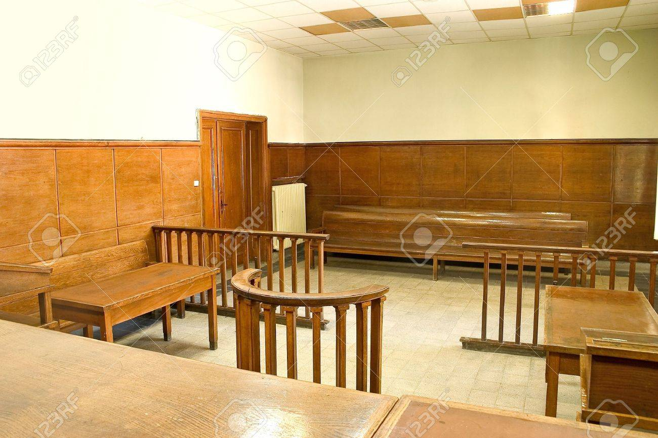 Old vintage court room with wooden furnitures. Stock Photo - 5974865
