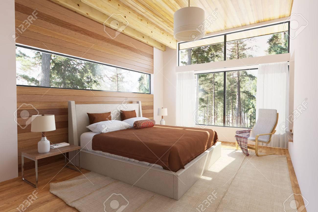 Holz-Schlafzimmer Interieur Mit Bett Holzstirnwände Und Große ...