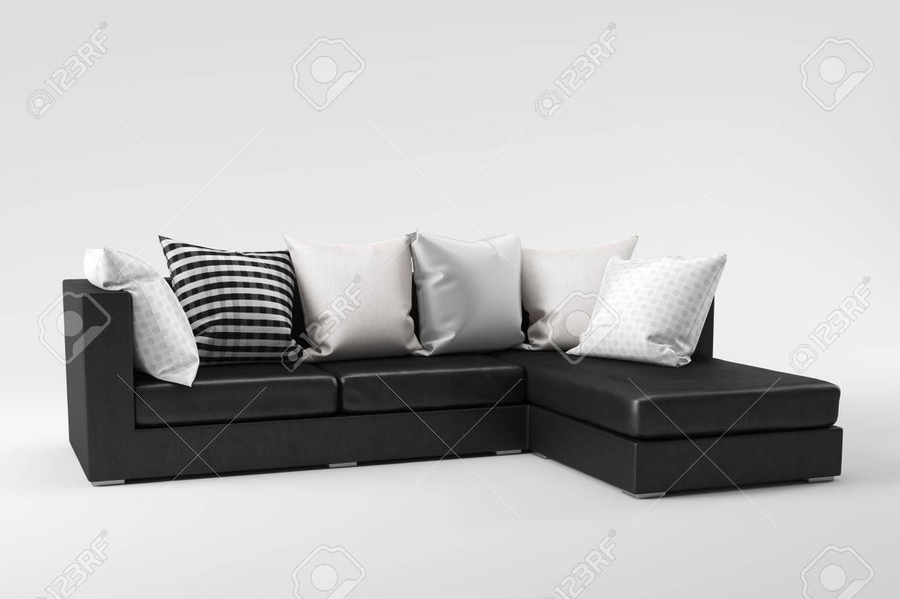 Zwart Wit Leren Bankstel.Zwart Lederen Bank Met Kussens Geisoleerd Op Een Witte Achtergrond
