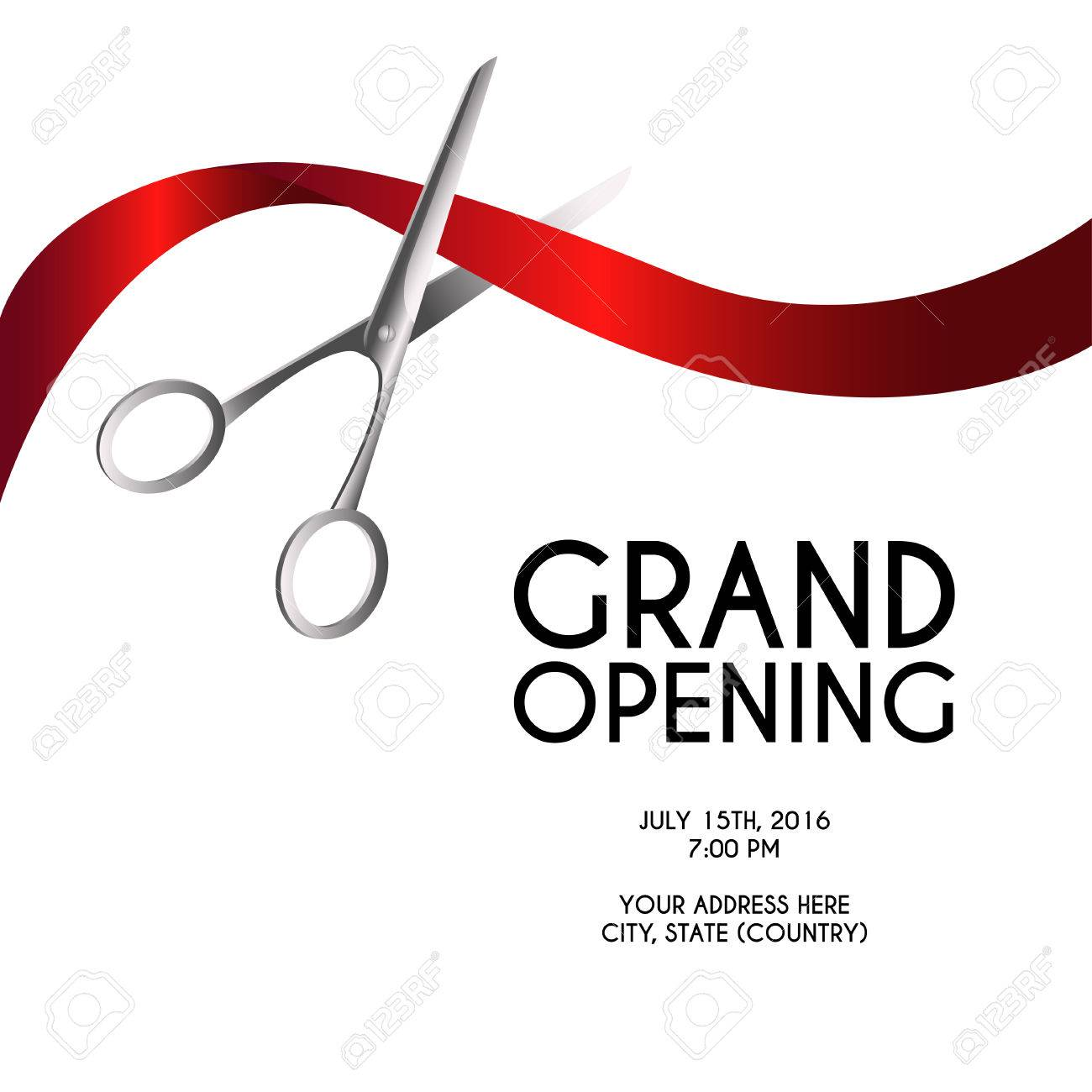 Grand opening poster mock-up with silver scissors cutting red ribbon isolated on white background, design announcement template. Editable and movable objects. - 56099644
