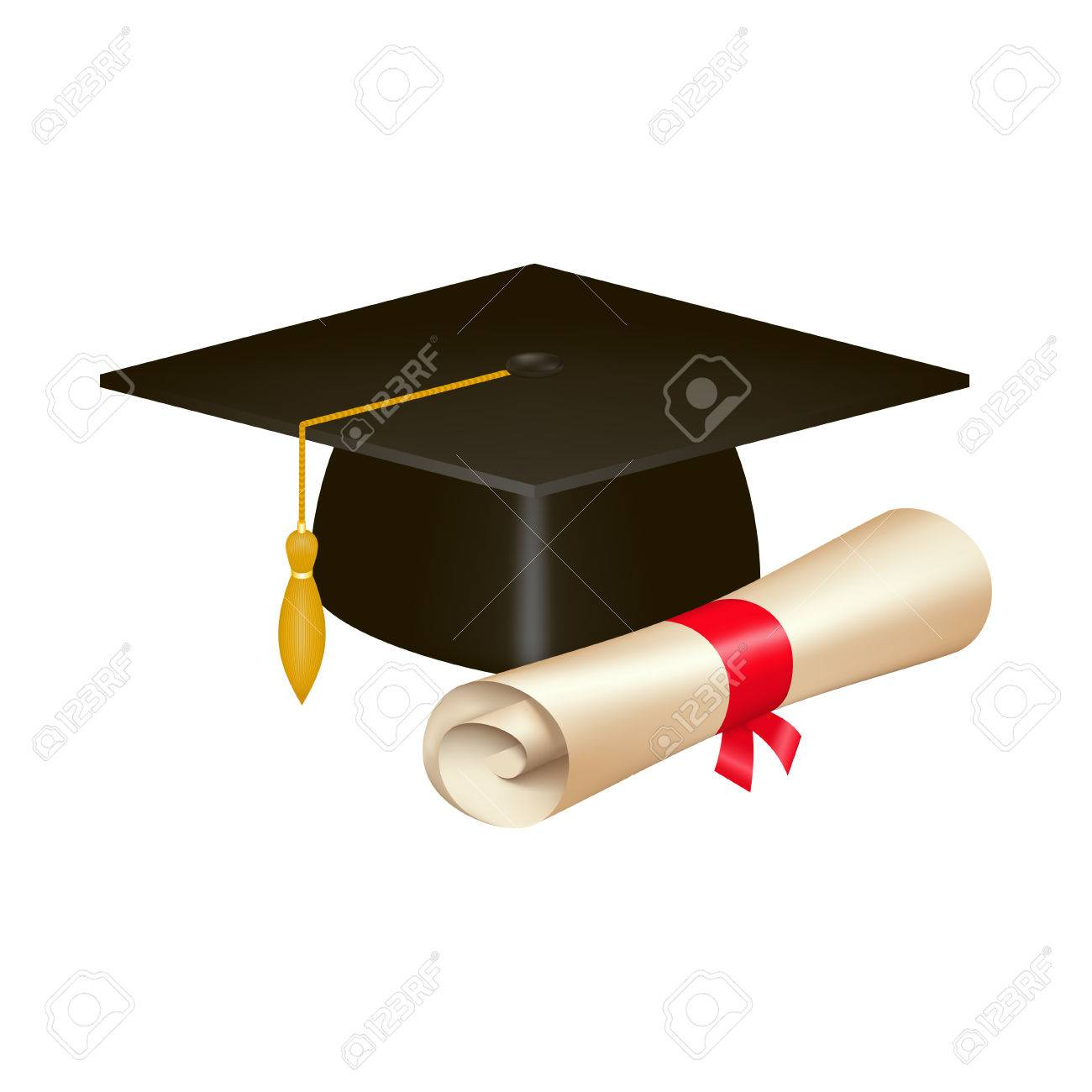 Realistic Graduation Cap And Diploma Scroll Isolated On White Stock Photo Picture And Royalty Free Image Image 75765862