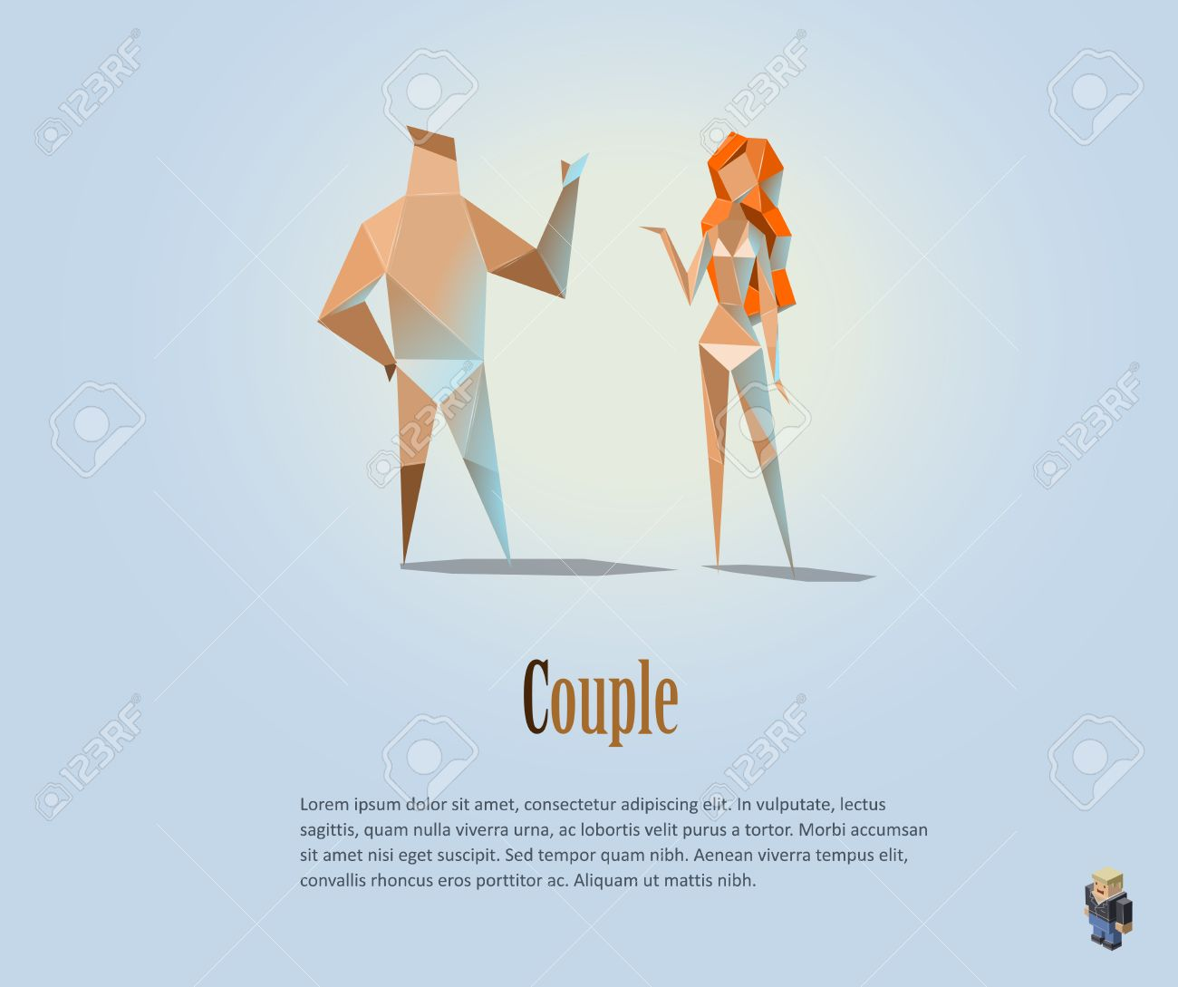Vector Polygonal Illustration Of Couple Naked People Modern