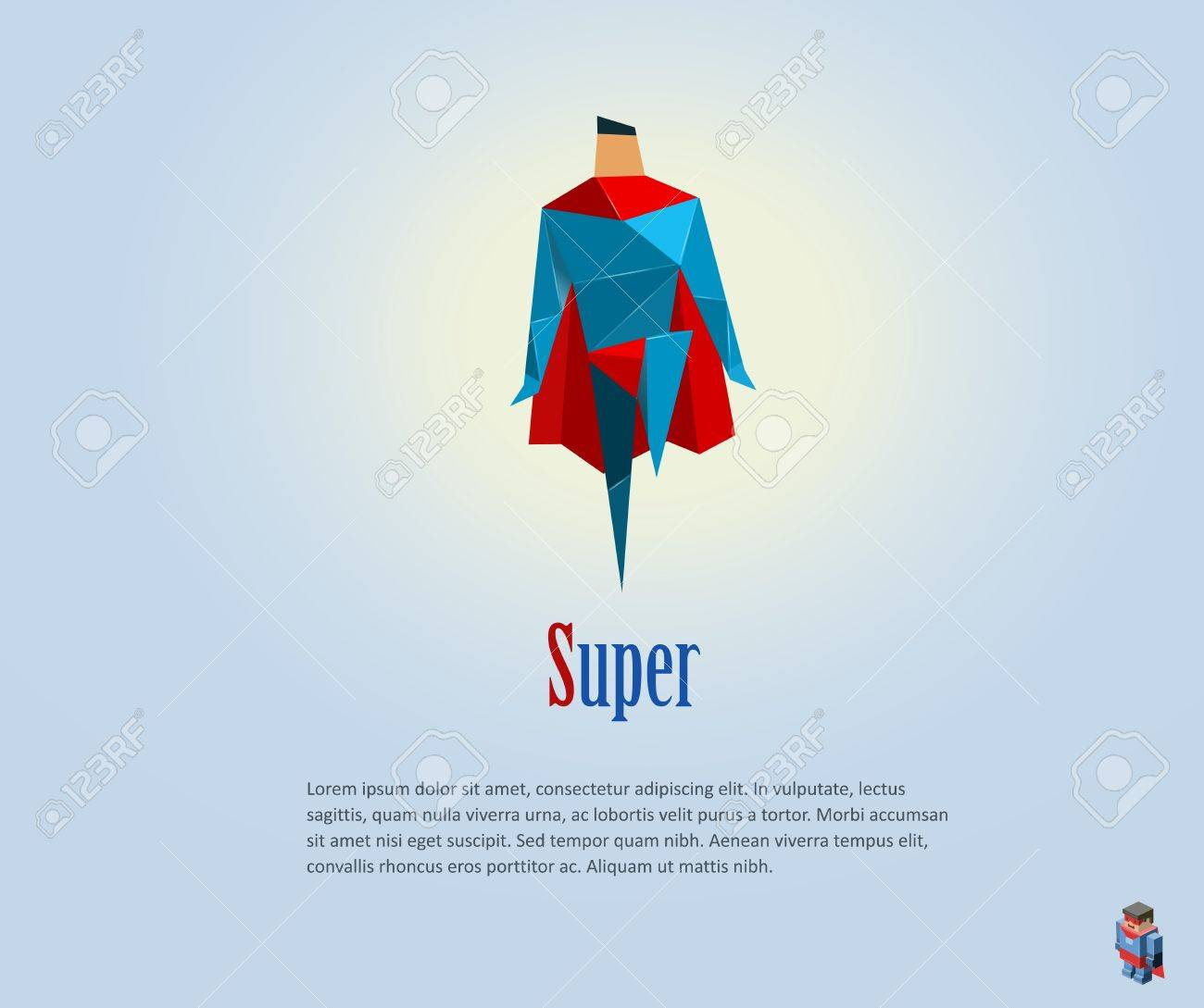 Vector Polygonal Illustration Of Super Hero Origami Style Icon