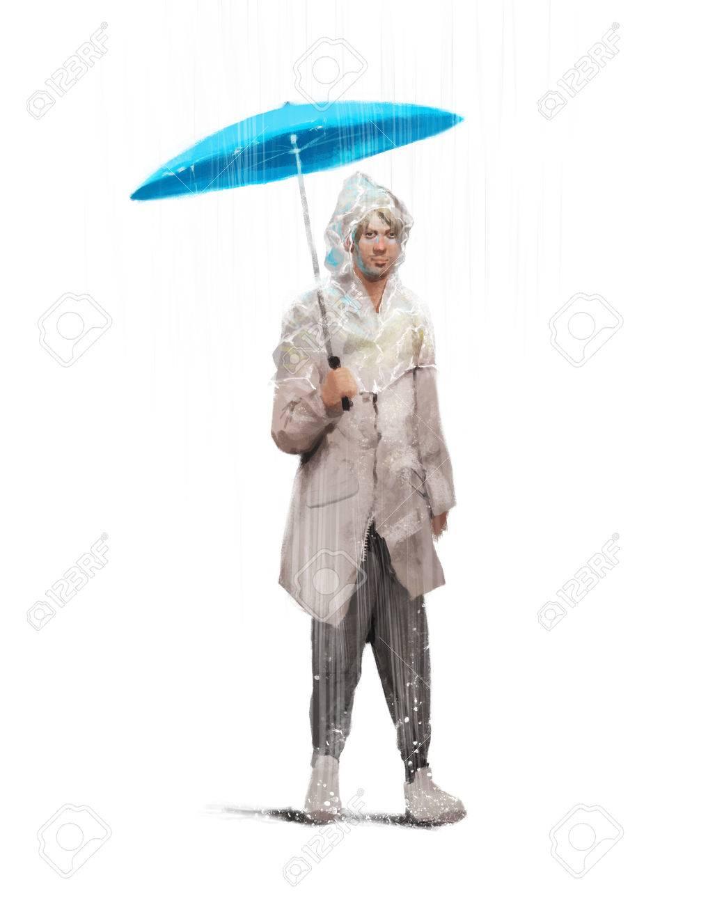 Un Le Avec De Homme Dans Stylisée Pluie Illustration Manteau D'un IBU77H