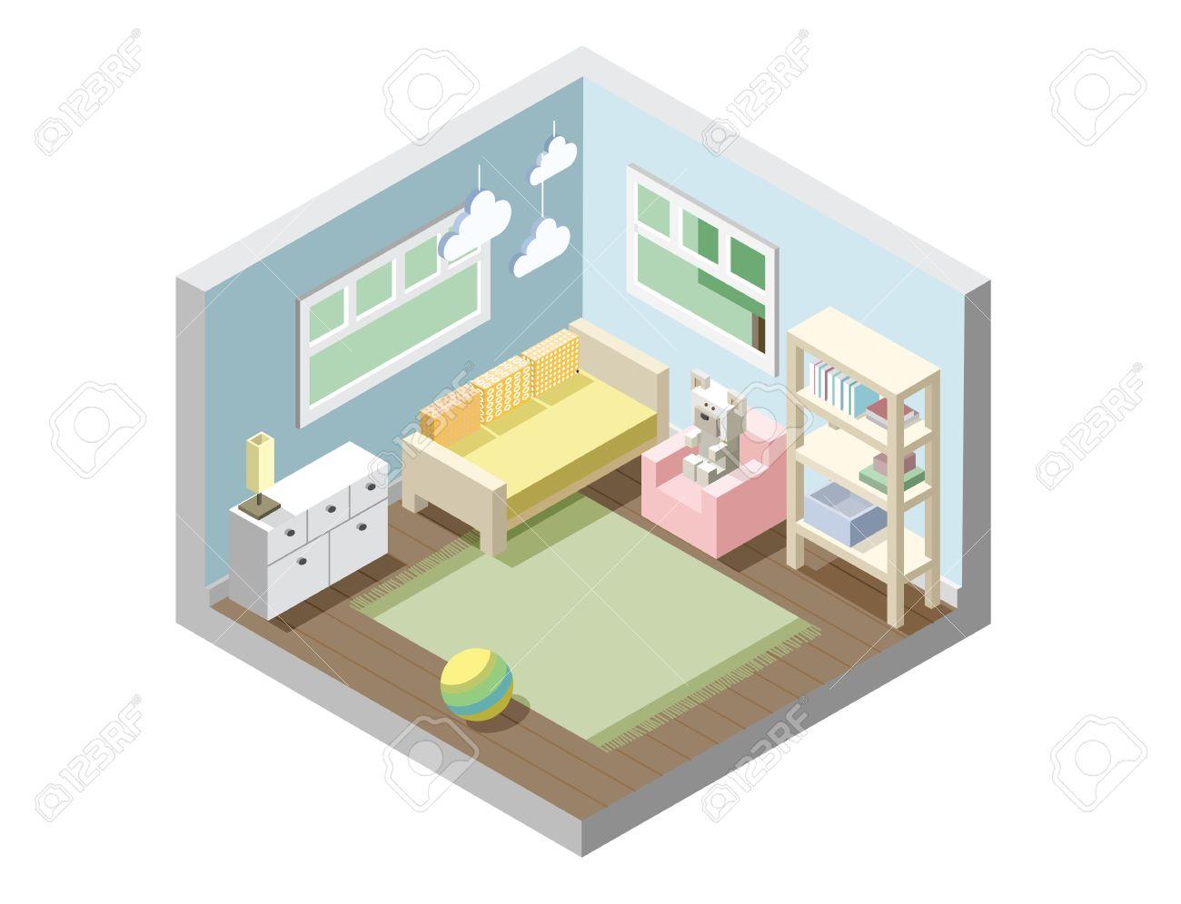 vector isomtrica vivero habitacin de los nios juego de muebles de cuarto de nios