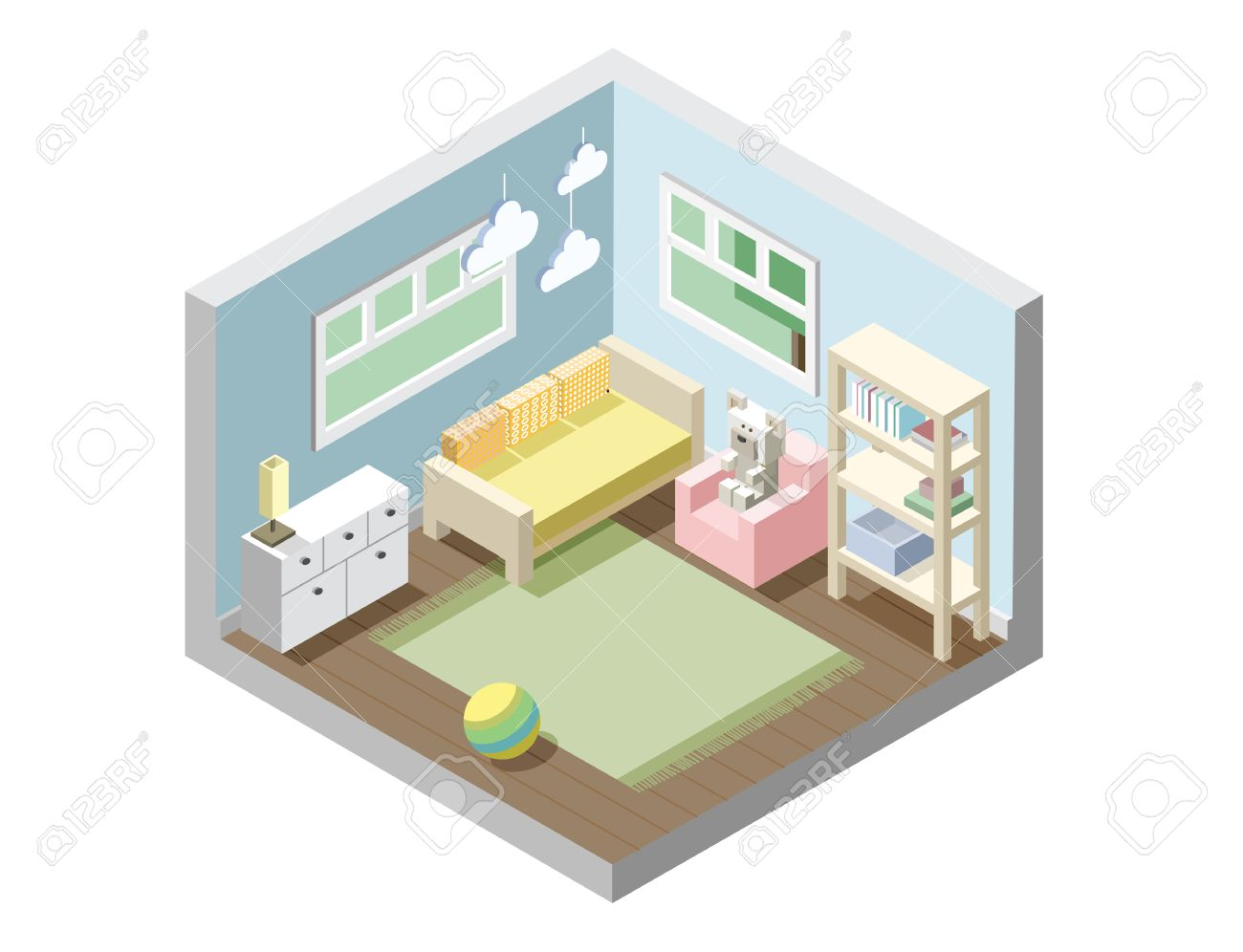 Picture of: Vector Isometric Nursery Kids Room Set Of Nursery Furniture Royalty Free Cliparts Vectors And Stock Illustration Image 66590877