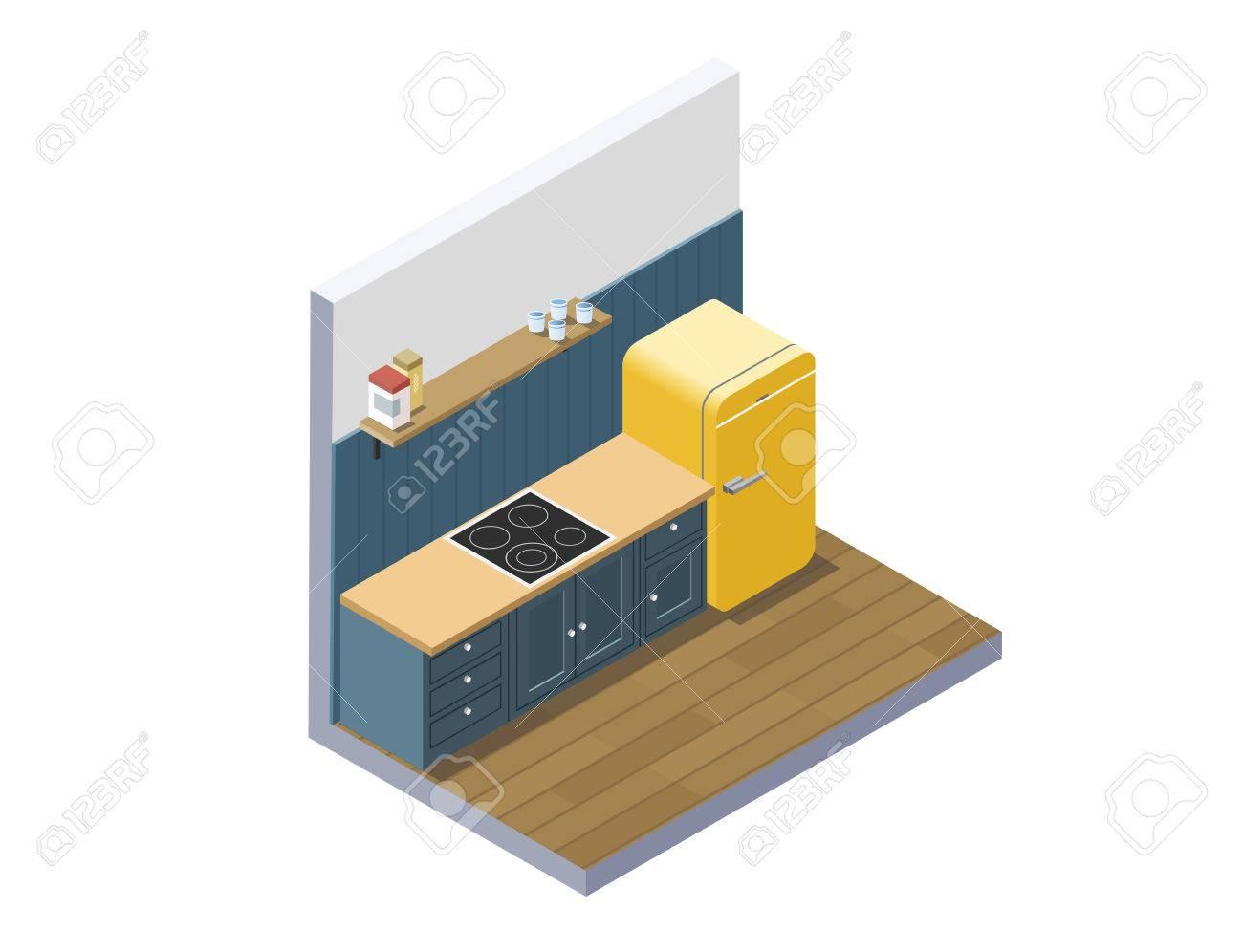 Vektor Isometrische Darstellung Der Küchenmöbel, 3d Flache Design ...