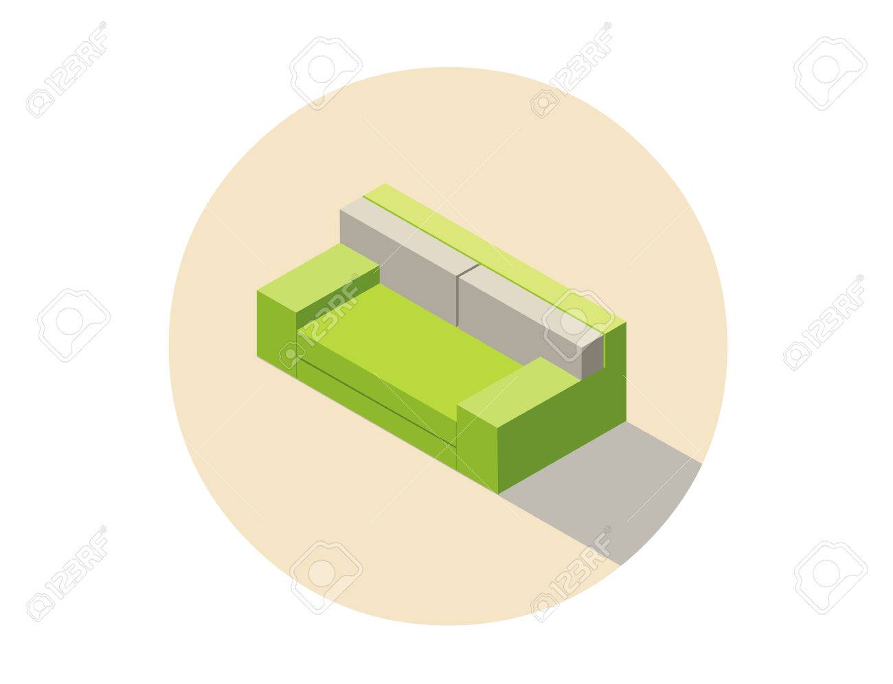 Vector Isometric Green Sofa Seat Couch 3d Flat Interior Design Element Home Constructor Object