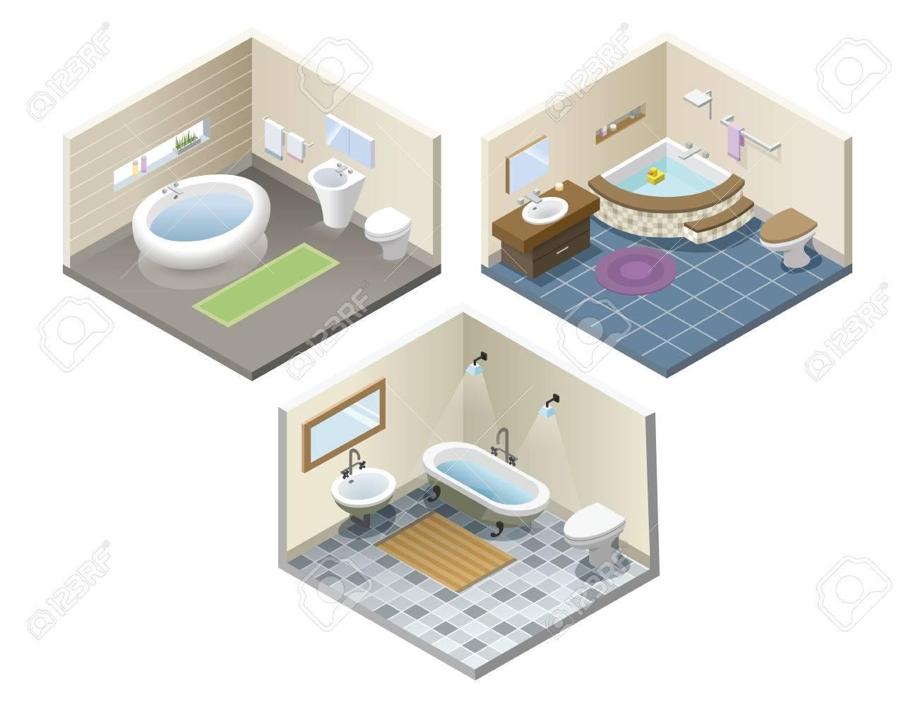 Vector conjunto de iconos isométrica de muebles de baño, cuarto de baño  retro isométrica y un interior moderno, diseño plano 3d de elementos del ...