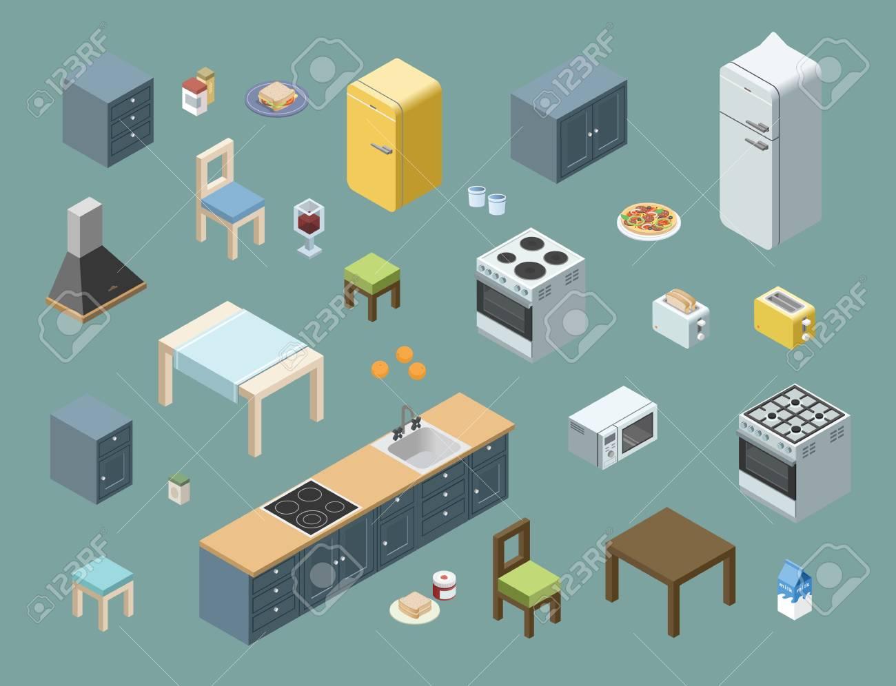 Vector Isométrica Conjunto De Muebles De Cocina, 3d Iconos De Diseño ...