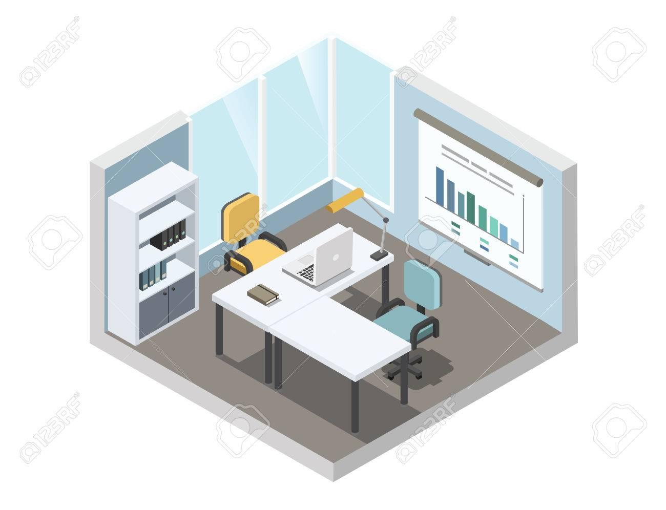 Vektor Isometrische Darstellung Der Büro-Arbeitsplatz, 3d Flachen ...