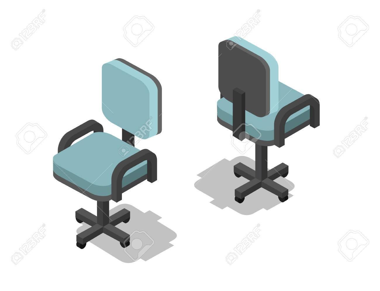 Vector ilustración isométrica de la silla de oficina, 3d icono de muebles  planos. Diseño de interiores, información gráfica y juegos.