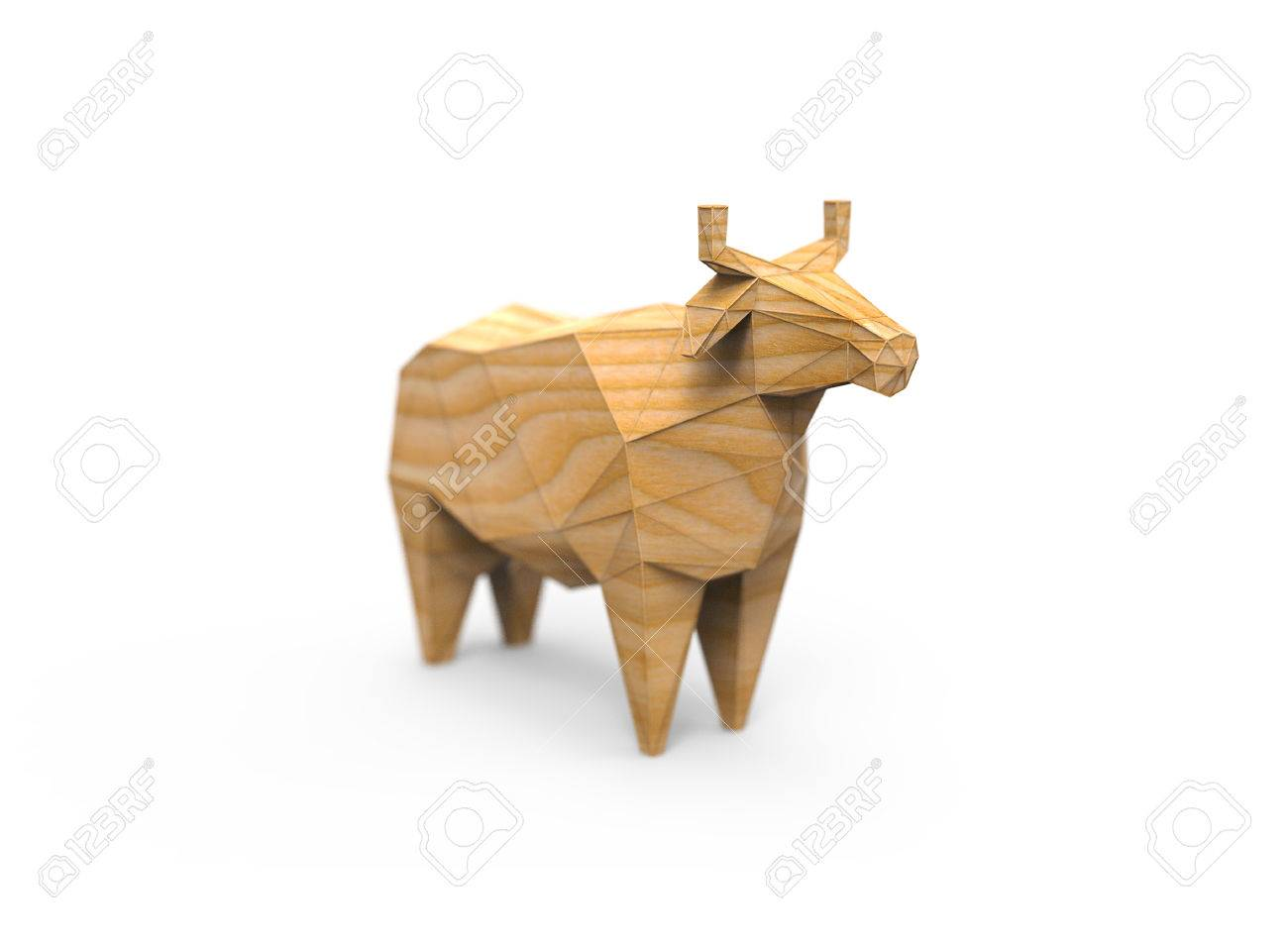 3D Polygonal Illustration Of Cow Figure Low Poly Farm Animals Made Wire