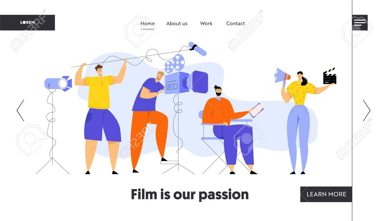 Film Director Controlling Movie Shooting Process, Cameraman, Sound Engineer, Woman with Megaphone and Clapper, Moviemaking Staff Website Landing Page, Web Page. Cartoon Flat Vector Illustration Banner - 127501606