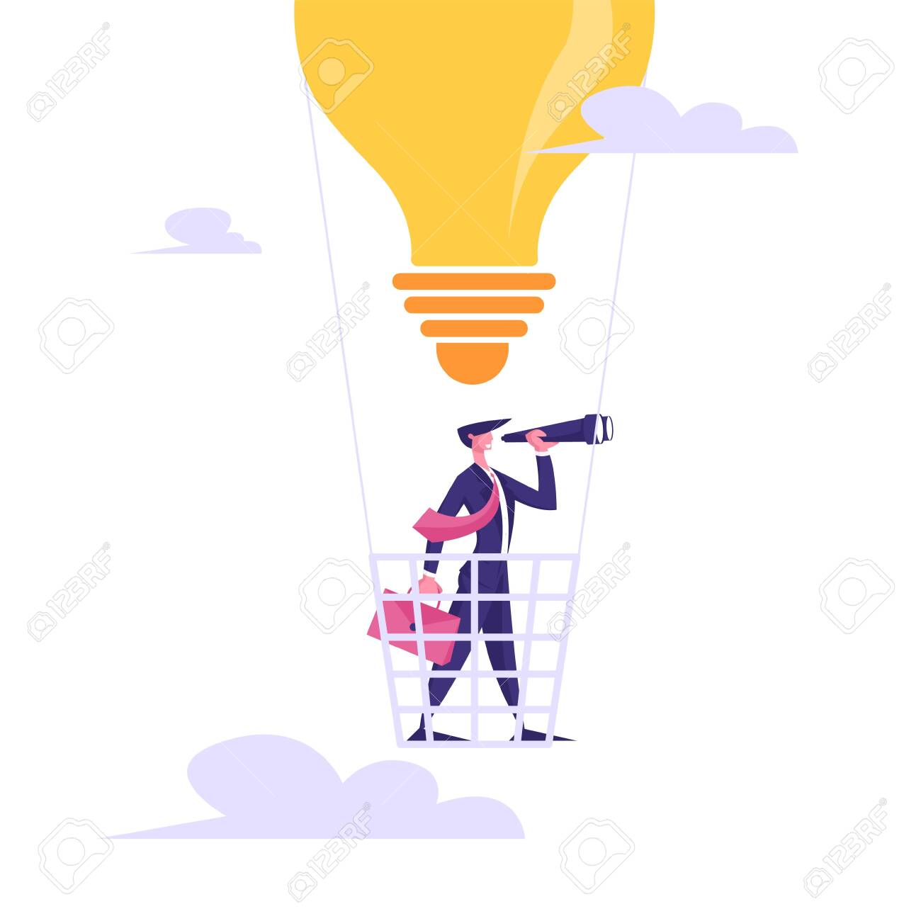 Businessman with Briefcase Flying on Air Balloon in Shape of Light Bulb Watching to Spyglass. Business Vision, Forecast Prediction, Success Planning Future Strategy Cartoon Flat Vector Illustration - 129762843