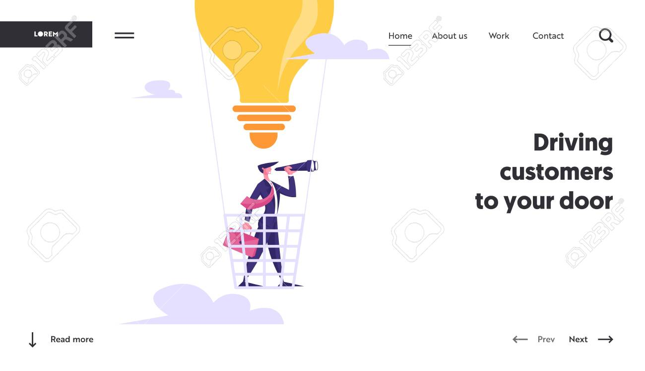 Success Planning Future Strategy Website Landing Page. Businessman Flying on Light Bulb Air Balloon Watching to Spyglass. Business Vision, Prediction Web Page Banner. Cartoon Flat Vector Illustration - 129762903