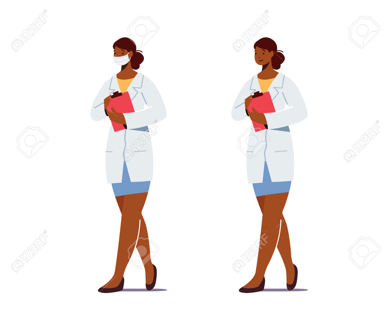 Doctor or Nurse Female Character Physician in White Robe with Clip Board Wear Medical Mask. Clinic, Hospital Staff Work - 166740356