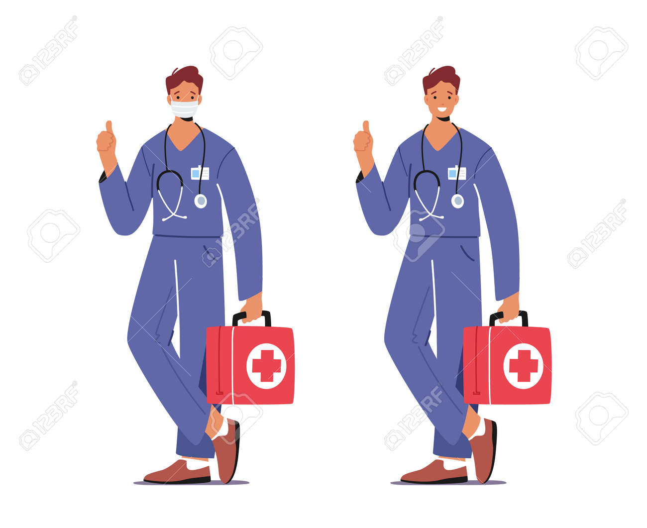 Doctor or Nurse Male Character in Robe with Medical Tools in Box Wear Mask Help Diseased Patient in Crisis. Medicine Job - 163847937