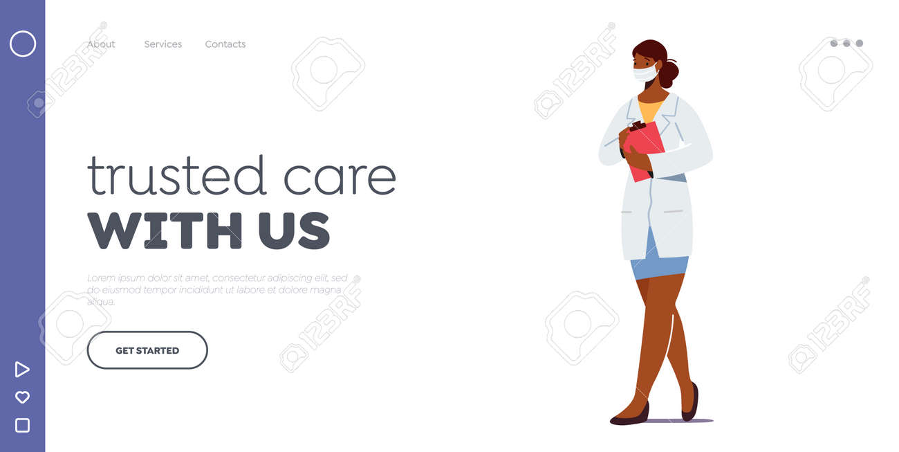 Doctor or Nurse Landing Page Template. Female Character Physician in White Robe with Clip Board Wear Medical Mask - 164287809