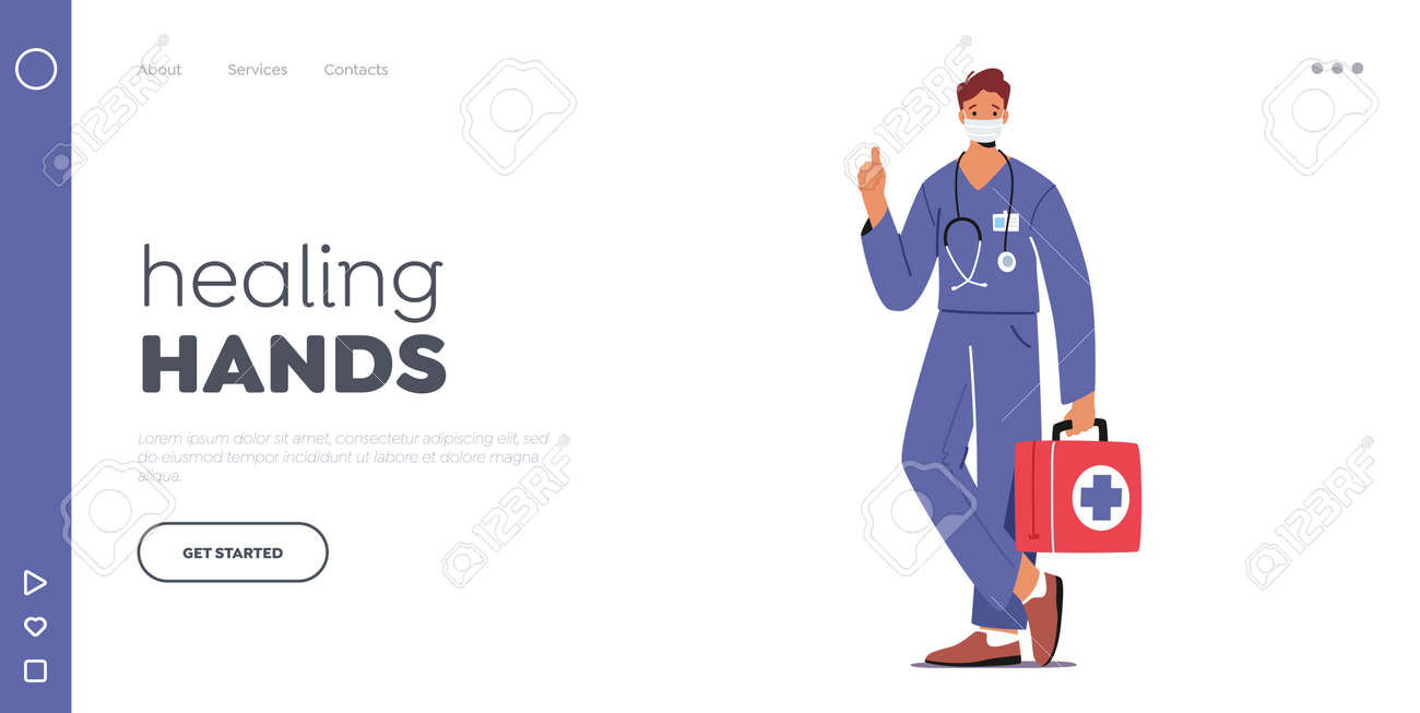 Doctor or Nurse Landing Page Template. Male Character in Robe with Medical Tools in Box in Mask. Clinic, Hospital Staff - 164287810