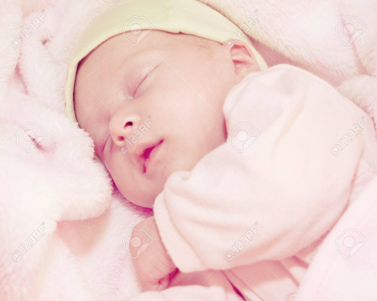 Two Weeks Old Baby Sleeping In Pink Blanket Stock Photo Picture And Royalty Free Image Image 11809968