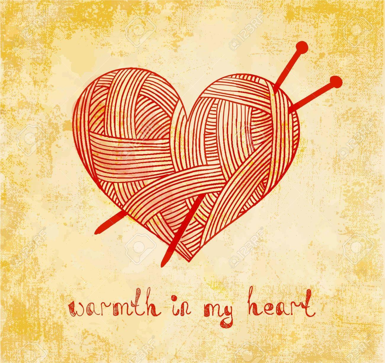 Corazón Con Tejido De Punto Aguja En El Fondo Del Grunge ...