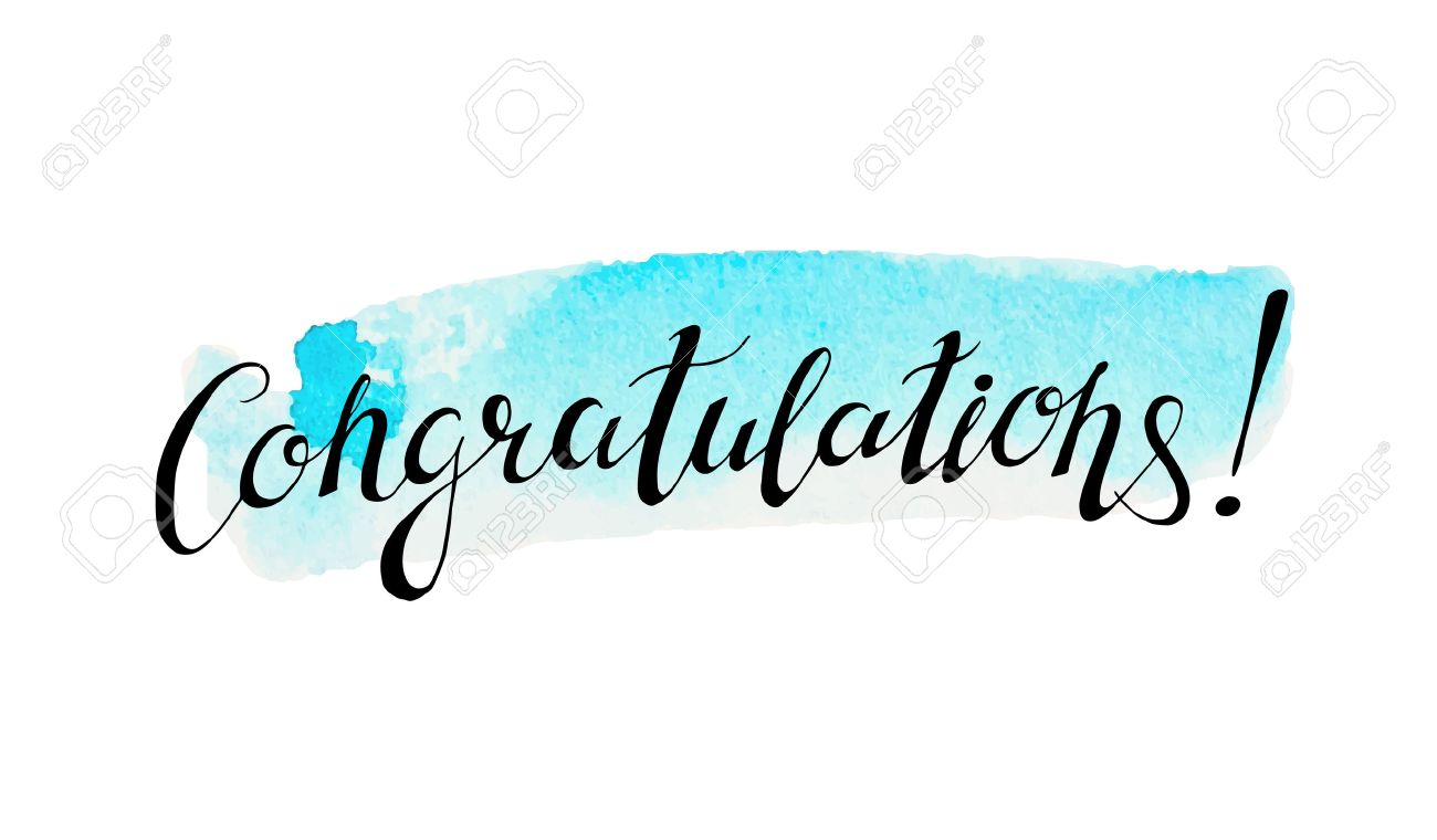 congratulation banner with abstract watercolor stain on background
