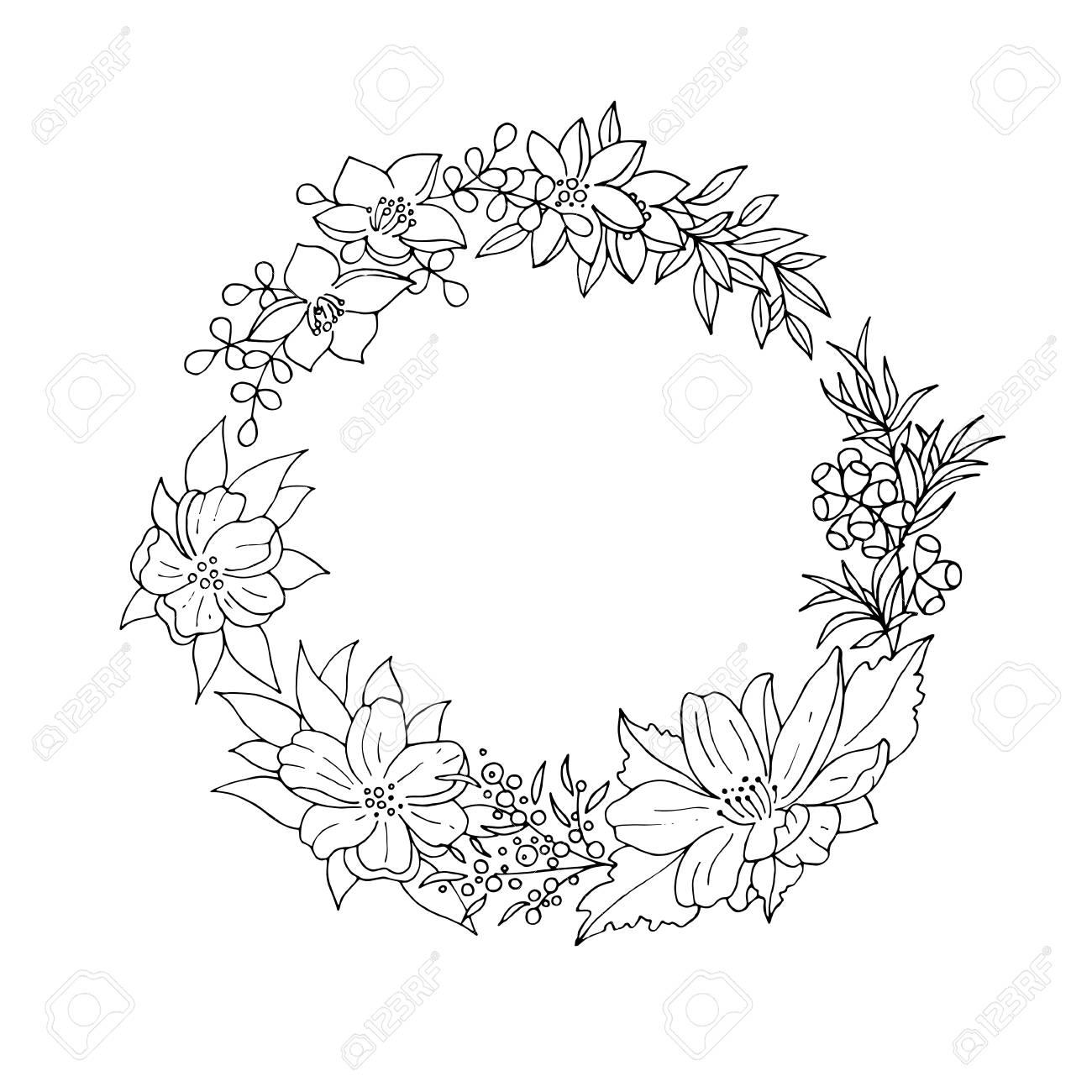 Noir Et Blanc Millésime Couronne De Fleurs Détaillée