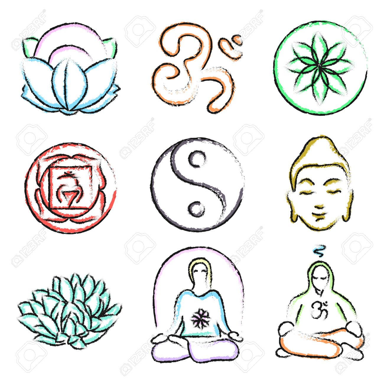 Vector Set Of Yoga Icons Buddhism Meditation Signs And Symbols