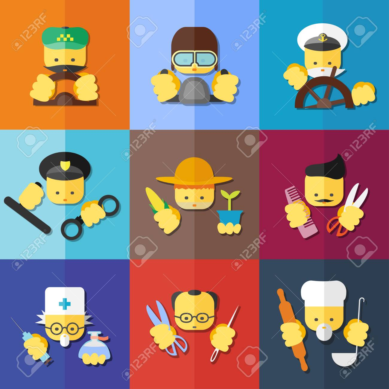 vector flat icon set of profession for websites print and