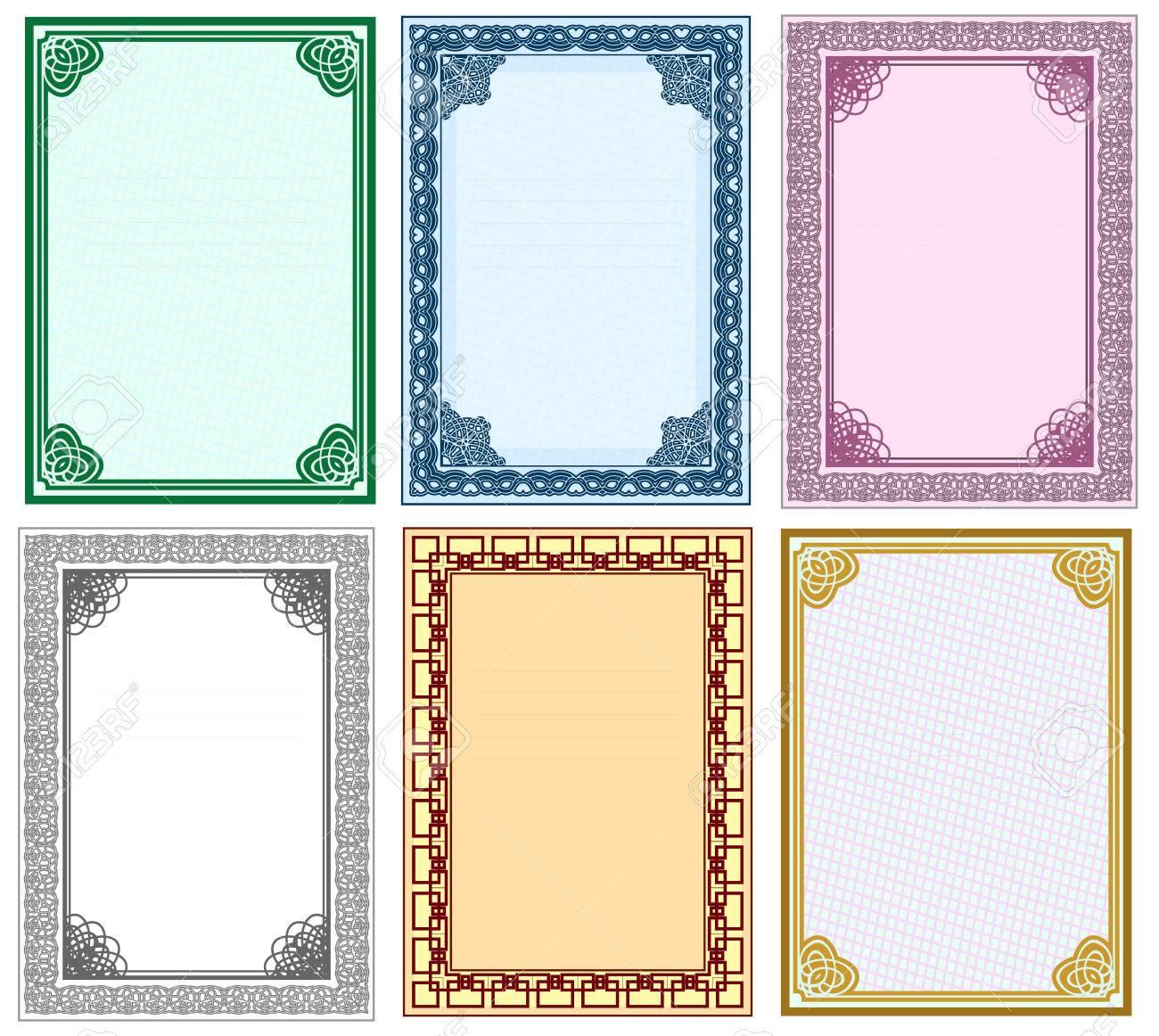 Marco Para El Diseño De Los Certificados Y Diplomas. El Conjunto Del ...