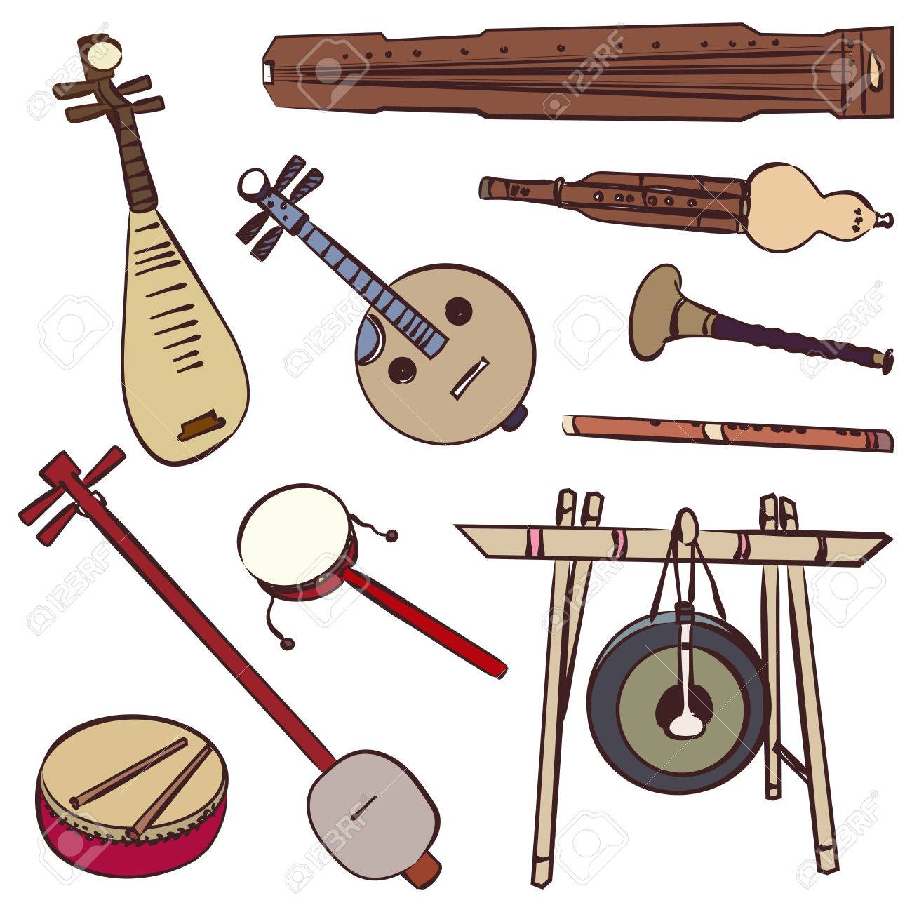 Instruments De Musique Traditionnelle Chinoise Vector Contour Défini Pour La Musique Panneau Clip Art Libres De Droits Vecteurs Et Illustration Image 54293993