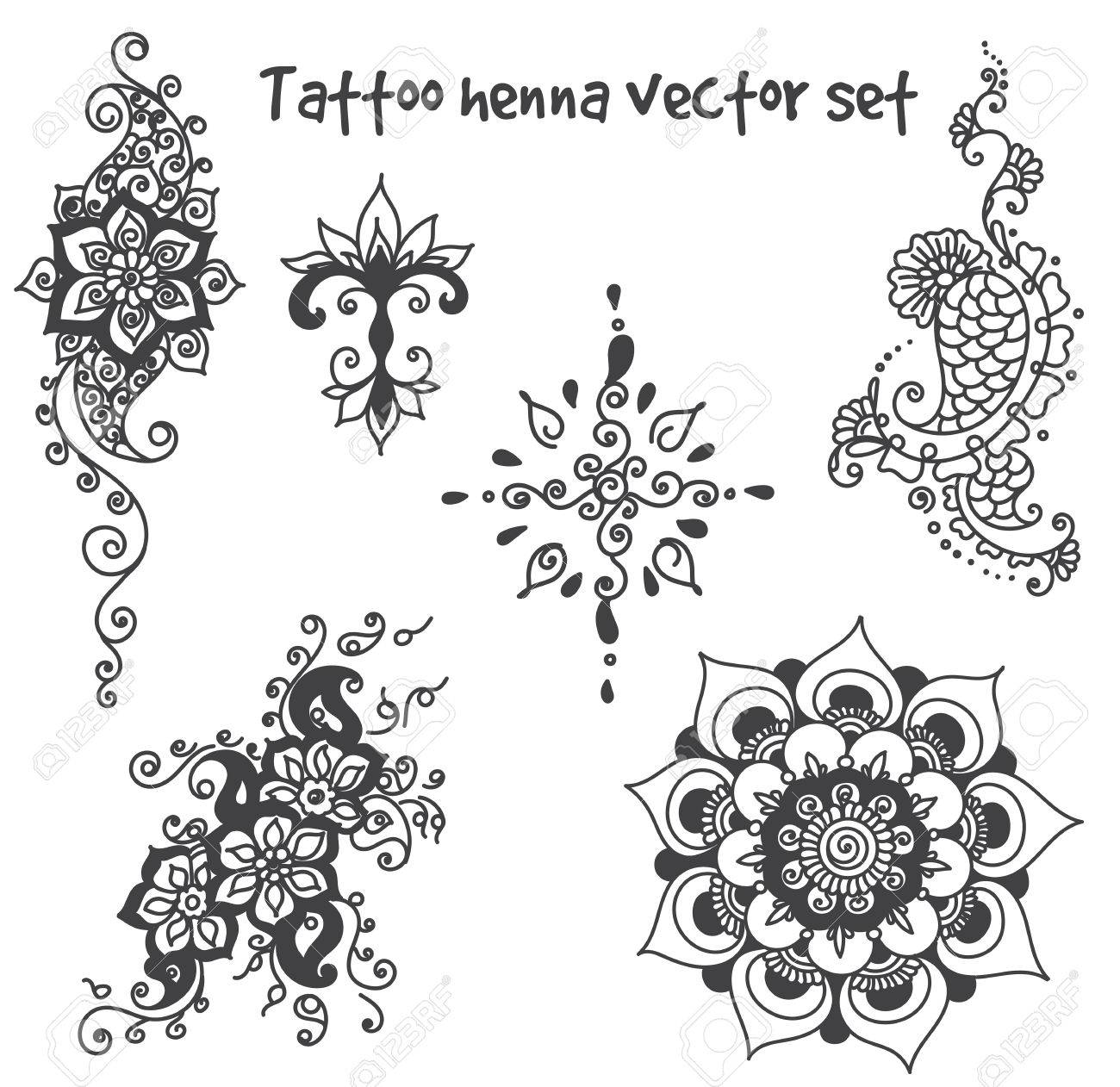 Vector Abstract Patterns Of Tattoo Henna Paisley And Flower