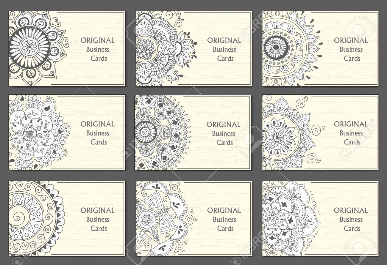 Cartes De Visite Etabli Avec Des Motifs Abstraits Elements