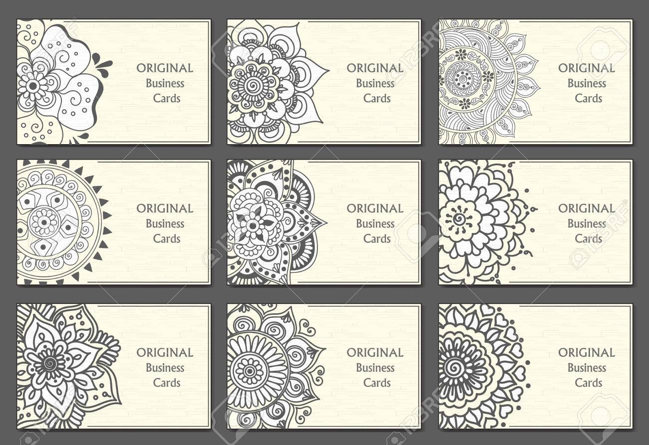 Business Cards Set With Abstract Patterns. Vintage Decorative ...