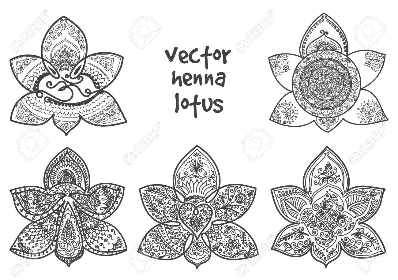 Set Of Abstract Lotus Tattoo Henna Isolated For Design On White