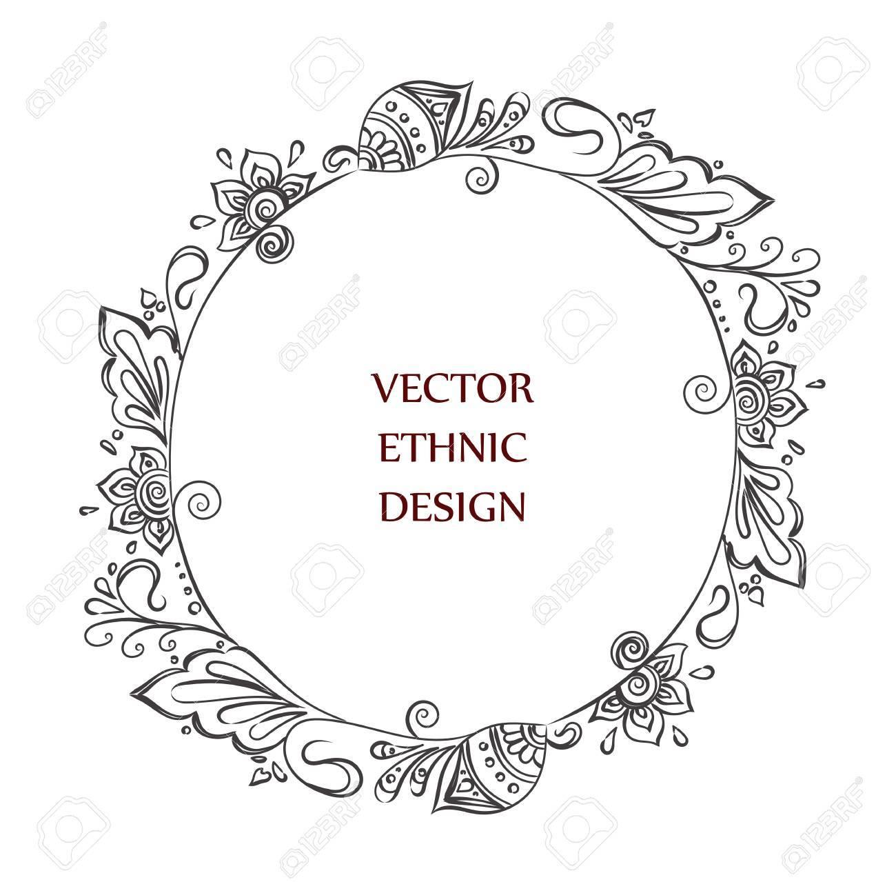 Runde Henna-Tätowierung Rahmen. Isolierte Muster Für Design Auf ...