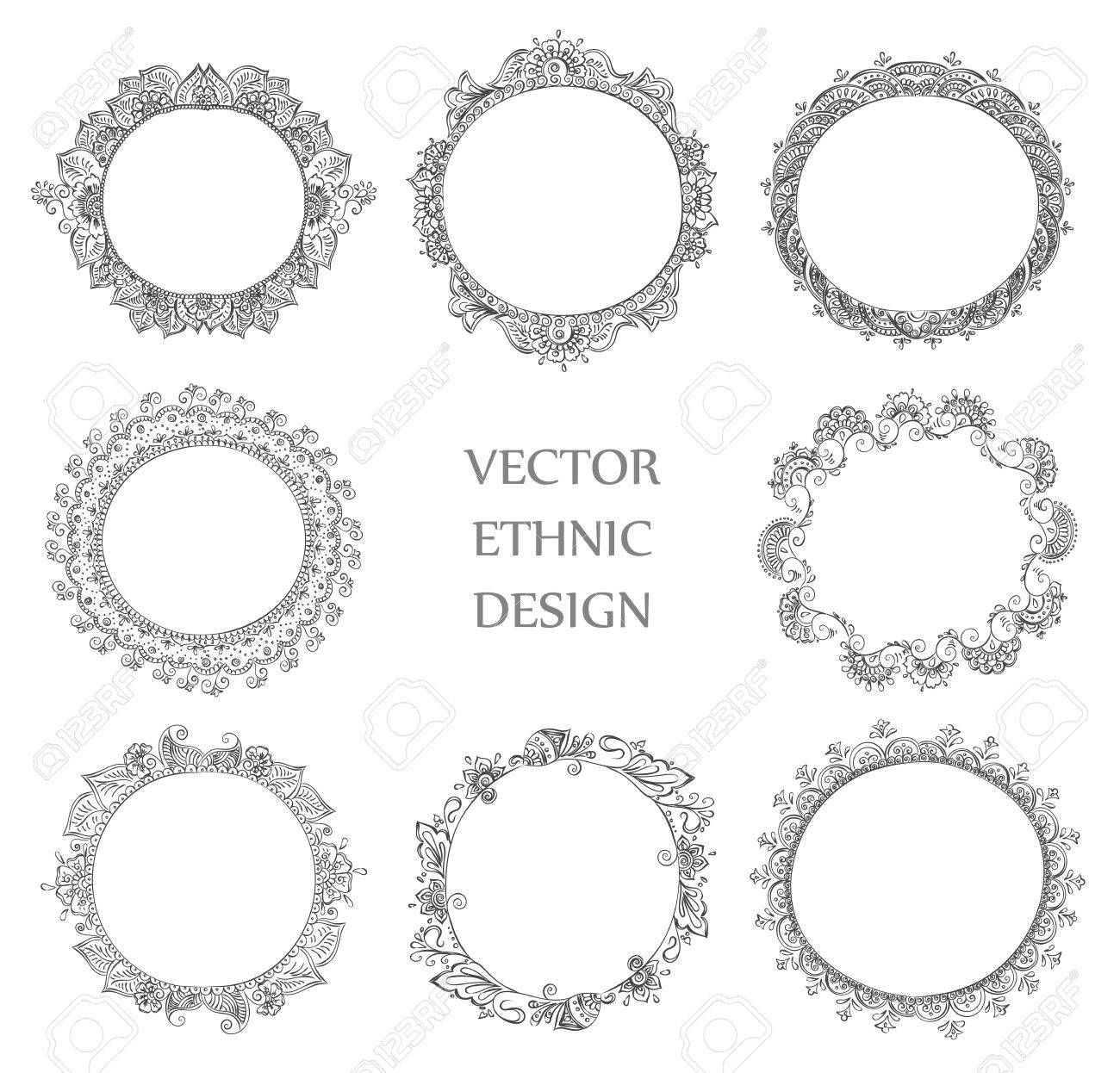 Vector Reihe Von Runden Henna-Tätowierung Rahmen. Isolierte Muster ...