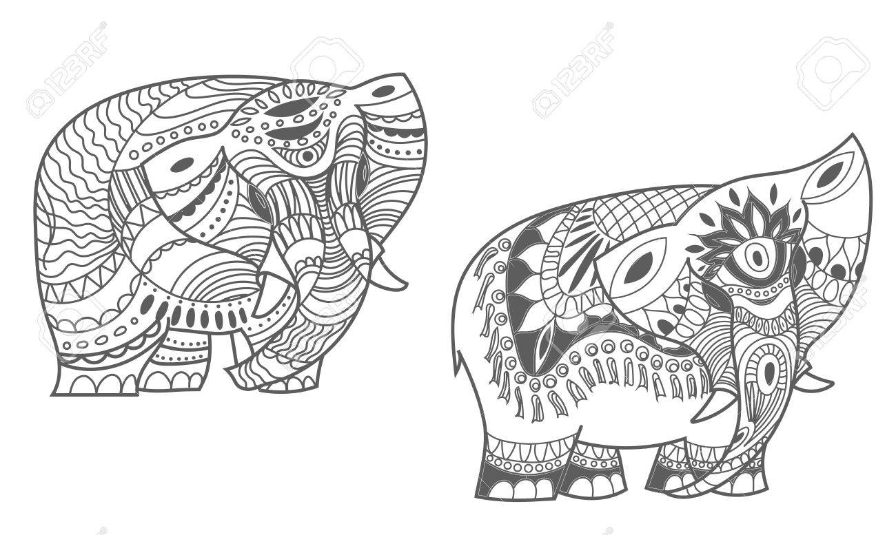 Vector Indian Elephants Set Stock Mehndi For Design On White