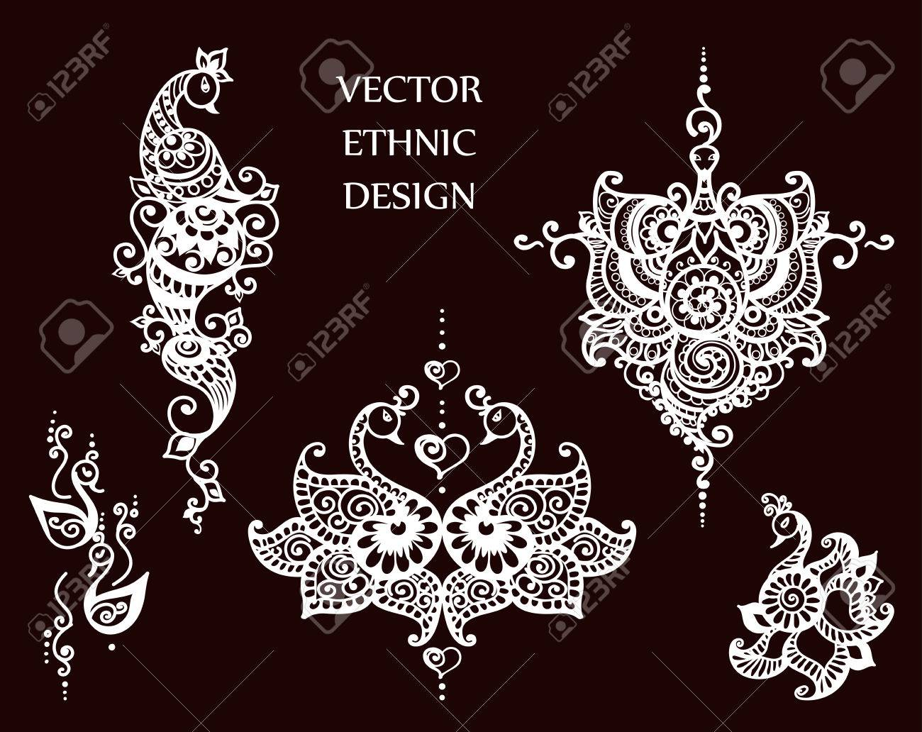 Tattoo Henna Mandala Set Royalty Free Cliparts Vectors And Stock
