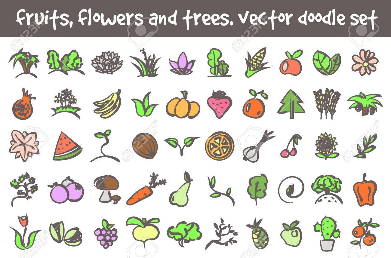 Vector Doodle Frutas Flores Y árboles Iconos Conjunto Signos De Archivo De Dibujos Animados Para El Diseño