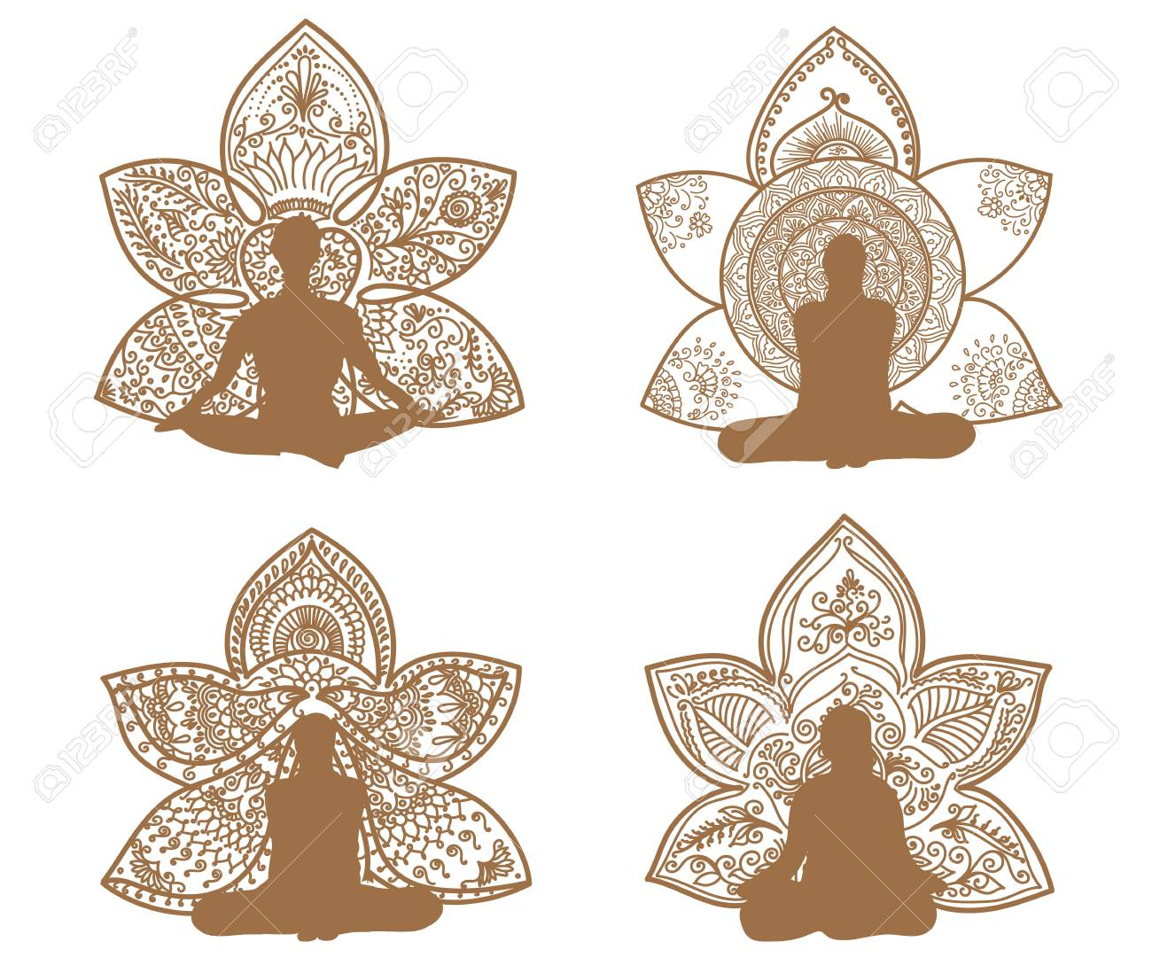 Silhouette De Meditation Avec Des Motifs De Lotus De Henne De