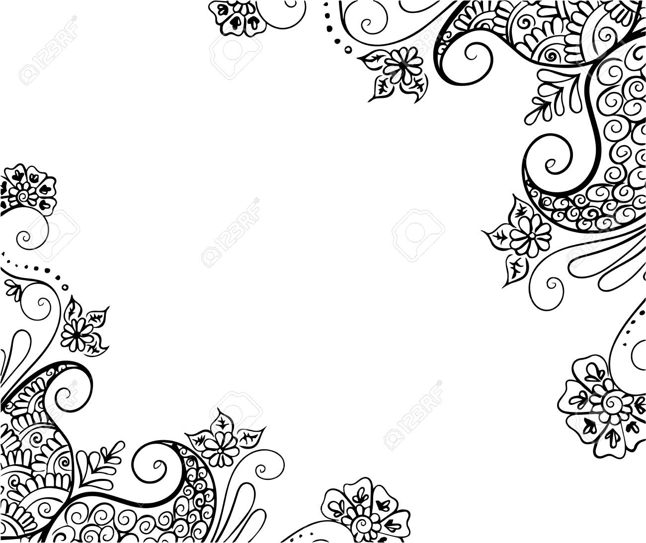 Vector Abstract Ethnic Background With Henna Patterns Stock