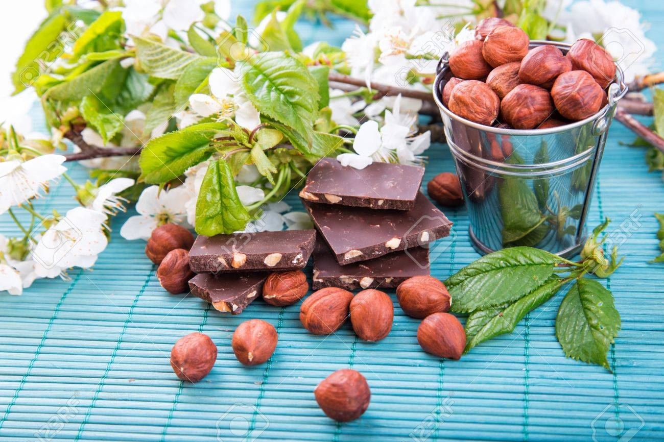 Hazelnuts In A Backet With Pieces Of Chocolate With Nuts Scattered ...