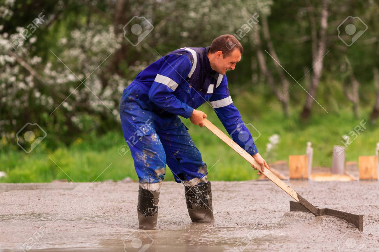 Leveling Of The Cement Or Concrete Of The Foundation Formwork Stock Photo Picture And Royalty Free Image Image 150075181